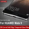 Marca huawei mate 9 mate9 lephee 5.9 pulgadas de cristal templado + fibra de carbono borde suave cobertura pantalla completa película 3d curvada