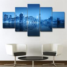 5 pieces Canvas wall art modern pictures frame New York City Night View poster printings Oil painting for living room home decor