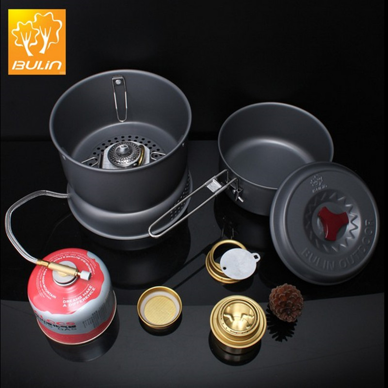 все цены на outdoor camping alcohol and gas stove double function with pot set BL100-Q1Combination Stove Multi-purpose Fuel Stove онлайн