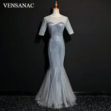 VENSANAC 2018 O Neck Sequined Mermaid Long Evening Dresses Party Lace Half Sleeve Illusion Zipper Back Prom Gowns