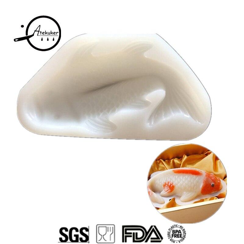 Atekuker gros poisson Silicone Mousse gâteau moule 3D Fondant gâteau décoration outils pouding gelée bricolage moules pour plâtre artisanat
