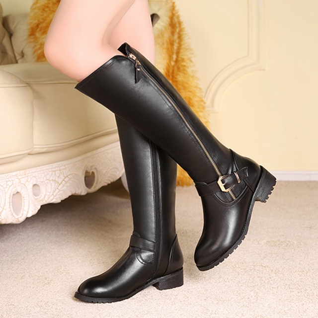 57c30d013455 NEUDELI 34-43 Fashion genuine leather women winter boots low heels black  sexy long motorcycle boots cozy warm female snow shoes