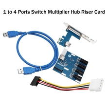 Новый AAD в карта pci-e 1X Expansion kit 1 до 4 Порты переключатель множитель концентратора Riser Card для Шахтер BTC USB 3 Мощность кабель