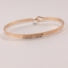 Gold Silver Copper Engraved Bracelets Inspirational Positive Quote Cuff Mantra Bracelet Bangle for women 10pcs