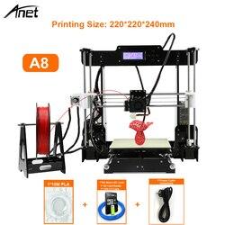 Anet A8 i3 Impresora 3D принтер Высокая точность Imprimante 3D DIY набор с алюминиевым Экструдером Hotbed SD карта сборка инструменты нити