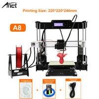 Anet A8 i3 Impresora Imprimante 3D haute précision Imprimante 3D kit de bricolage avec extrudeuse en Aluminium Hotbed carte SD construire des outils Filament