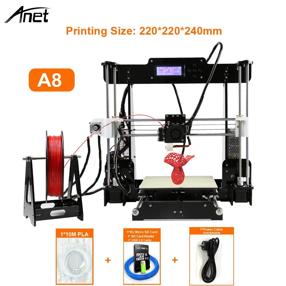 Anet A8 i3 Impresora 3d принтер Высокая точность Imprimante 3D DIY комплект с алюминиевым Экструдером горячей SD карты строительные инструменты нити