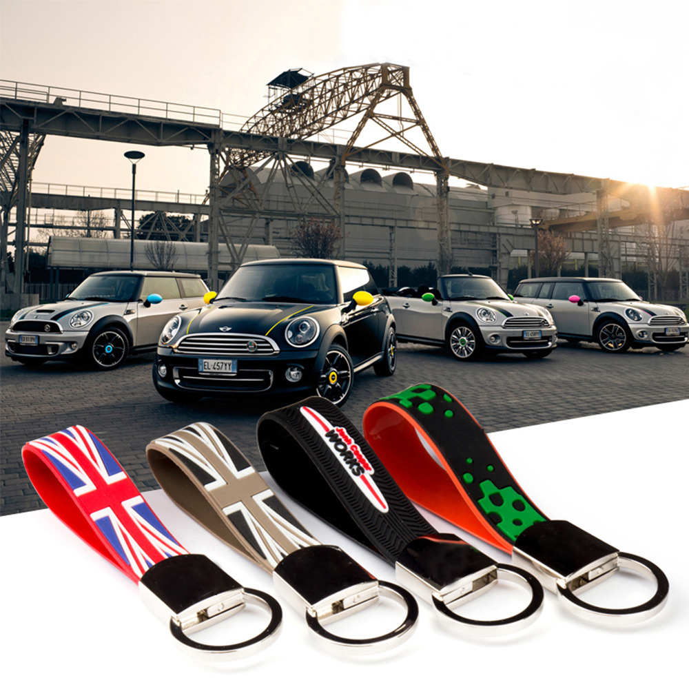 Union Jack Rubber Car Key Chain Ring Holder Keychain For Mini Cooper JCW R50 R53 R55 R56 R61 F56 F57 F60 Countryman Accessories image