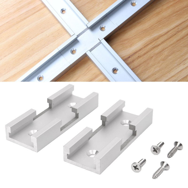 2Pcs T-Track Intersection Kit Aluminum T-Slot Connecting Parts Woodworking Tools