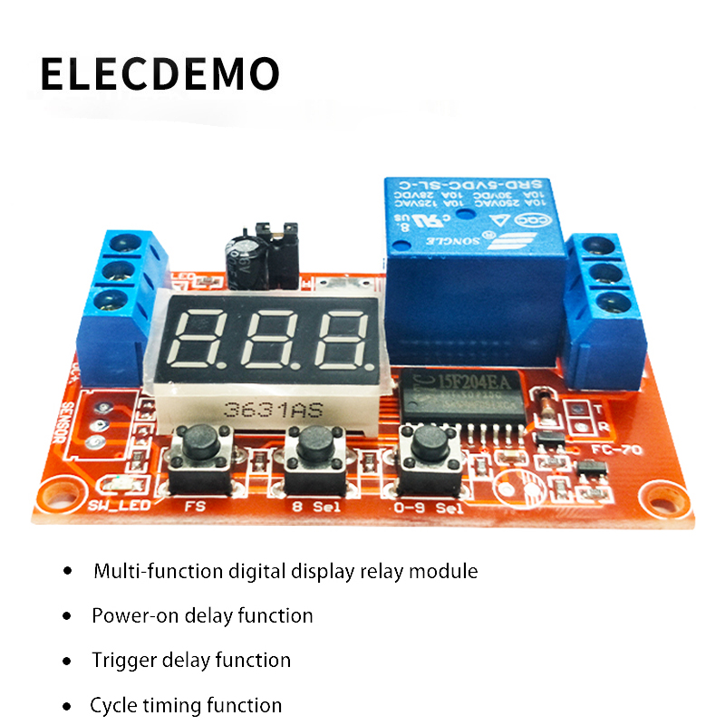 Multi function digital display adjustable power cycle high and low trigger pulse delay relay module 5V12V24V-in Demo Board Accessories from Computer & Office