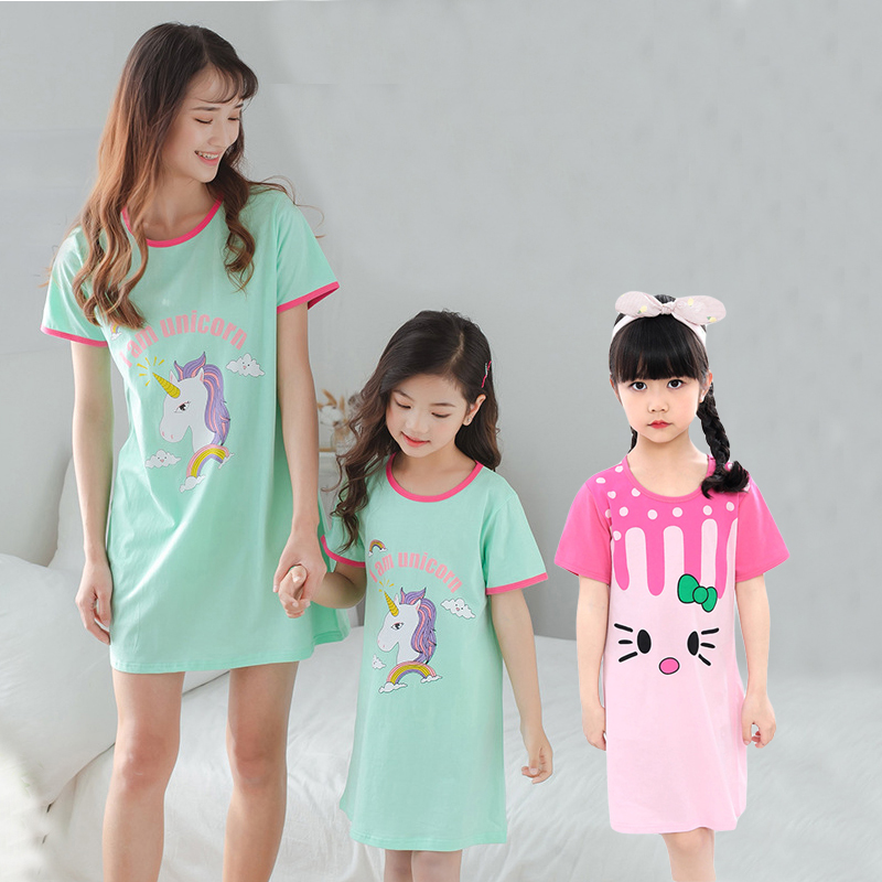 Summe Cotton Girls Unicorn Nightgowns For Mother Kids Night Dress Baby Cartoon Sleepwear Children's Pajamas Sleepshirt Gecelik