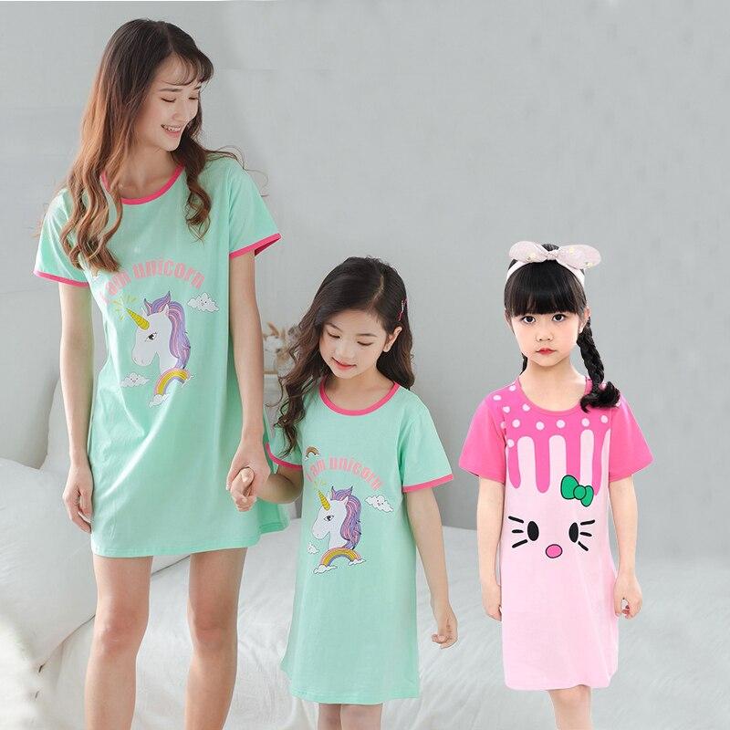 Summe Cotton Girls Unicorn Nightgowns For Mother Kids Night Dress Baby Cartoon Sleepwear Children's Pajamas Sleepshirt Gecelik-in Nightgowns from Mother & Kids on Aliexpress.com | Alibaba Group