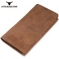 Men Leather Long Wallet Brown Retro Coin Purse Luxury Brand Casual Money Bags Multi Card Holder Handy Slim Portefeuille Homme
