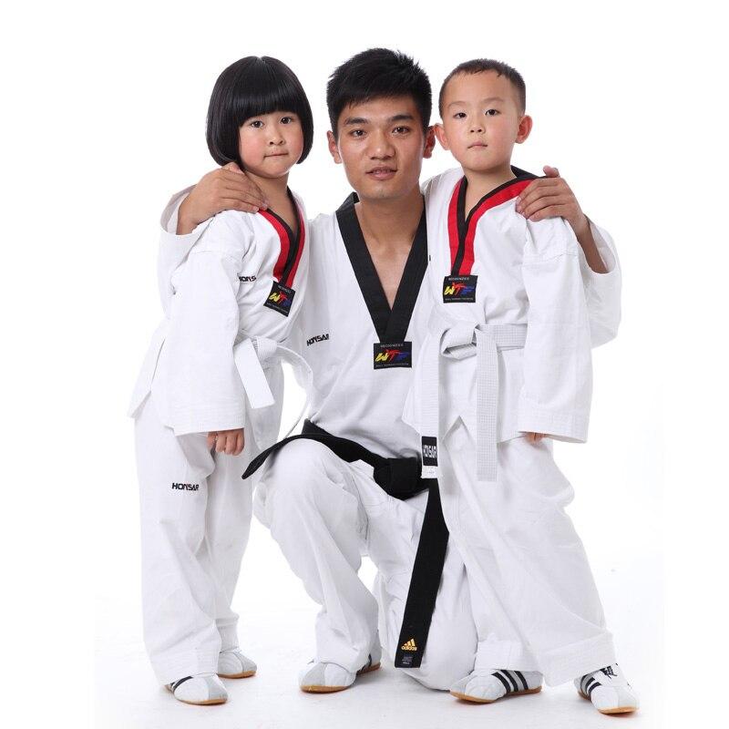 Для взрослых и детей WTF добок тхэквондо униформы 100% хлопок таэквондо Одежда Дети Каратэ Тхэквондо ITF одежда спортивный костюм