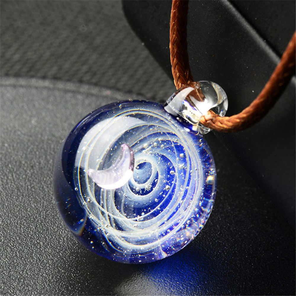 Novel Universe Choker Coloured Glaze Heart Shaped Necklaces Starry Sky Glass Ball Necklace Fantasy Moon Torque Ornaments Trinket