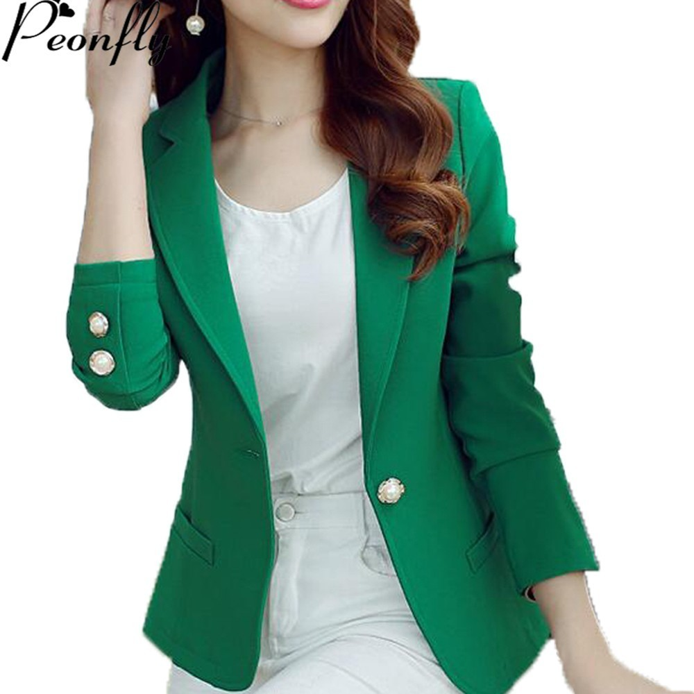 PEONFLY Green/Yellow Single Button Ladies Blazers Women Spring Autumn Women Suit Jacket Blazer Femme Office Tops Coats