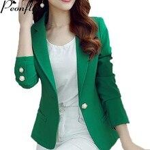 PEONFLY Green/Yellow Single Button Ladies Blazers Women Spri