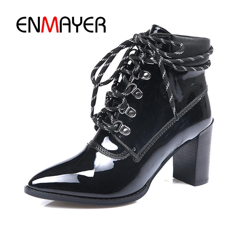 ENMAYER Genuine Leather Women Ankle boots Shoes Big size 34-43 Causal Pointed Toe Thick heels Women Shoes Metal Lace up CR467