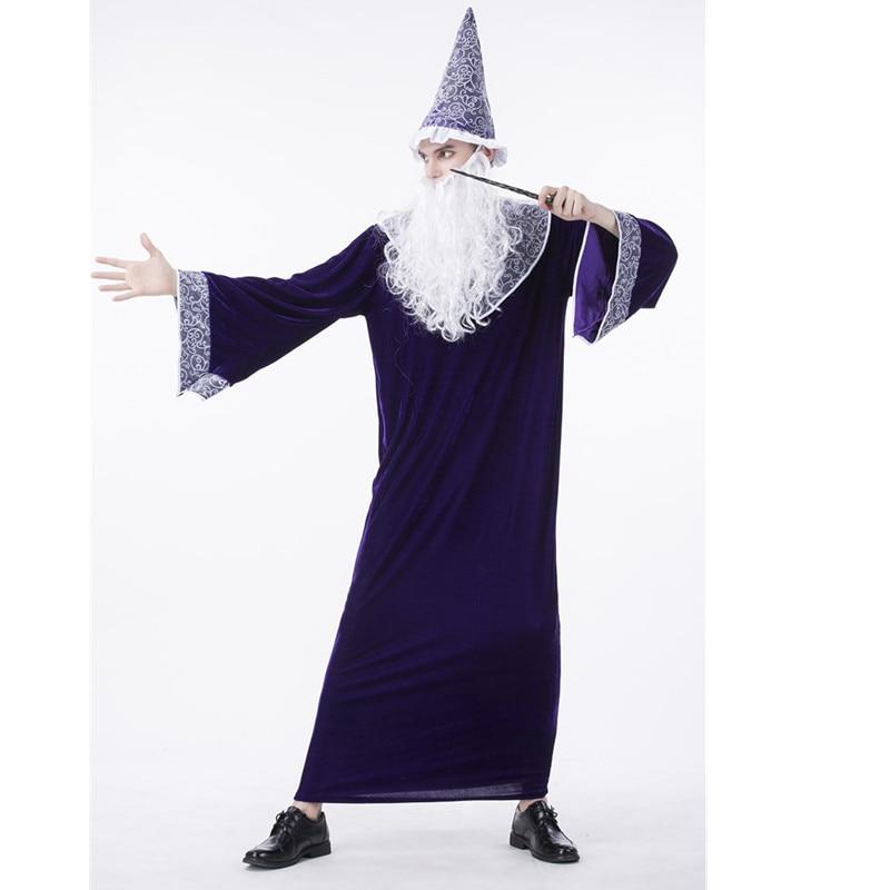 Adulte hommes assistant prêtre tenue mystérieuse pourpre sorcier Robe Halloween hommes Cosplay magicien velours Costume avec chapeau