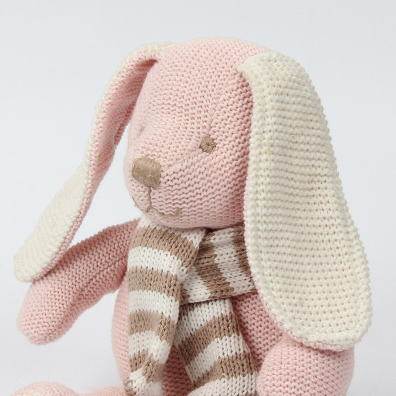 Fopcc 25cm Pink Wool Cloth Rabbit Doll Pink Pp Cotton Yarn Cloth