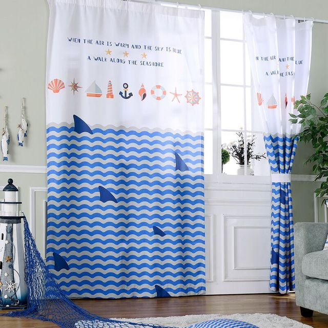 Blackout Curtains For Bedroom Boys Window Panels Shark Mediterranean ...