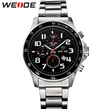 WEIDE mens watches top brand luxury watch automatic srainless steel bracelets 21mm quartz watches business Father's Day gift