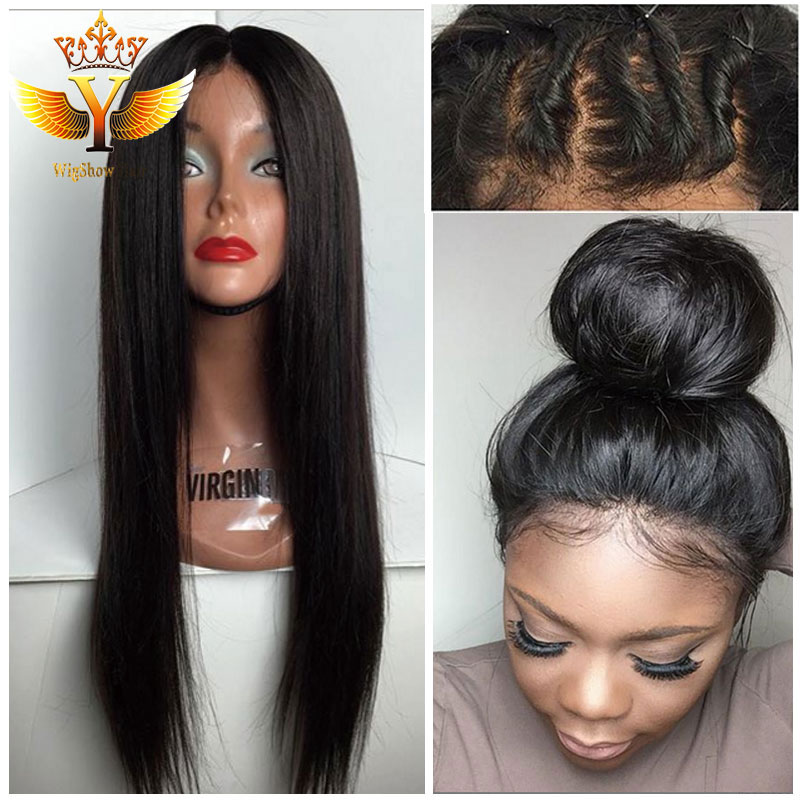 Straight Human Hair Half Wigs Cheap Full Lace Human Hair Wigs For Black  Women Glueless Lace Front Human Hair Wigs With Baby Hair-in Human Hair Lace  Wigs ... 9224c9ea9