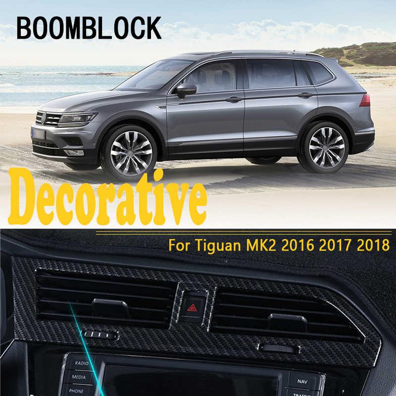 רכב סטיילינג עבור פולקסווגן Tiguan 2017 2018 עבור פולקסווגן פולקסווגן Tiguan מדבקות לקצץ מכסה שקע AC אוויר 2 MK2 2016 לוח מחוונים אביזרי