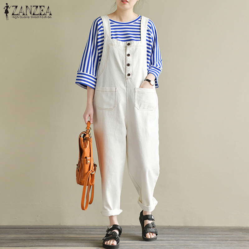 2019 Autumn Zanzea Vintage Work Long Harem Overalls Solid Cotton Linen Rompers Women Casual Strappy Loose Jumpsuits Dungarees Women's Clothing