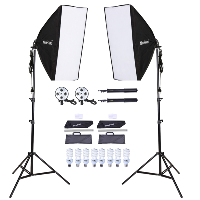 цена на photo studio kit 2x Nicefoto G801C-1 Studio Flash + 50x70cm Softbox + Light Stand Kit