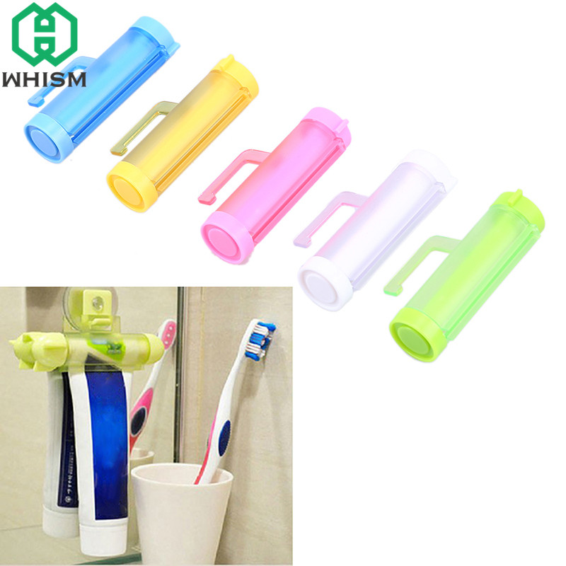 WHISM 1PCS Plastic Rolling Squeezer Tube Partner Holder With Hanging Sucker Toothpaste Dispenser Bathroom Accessories
