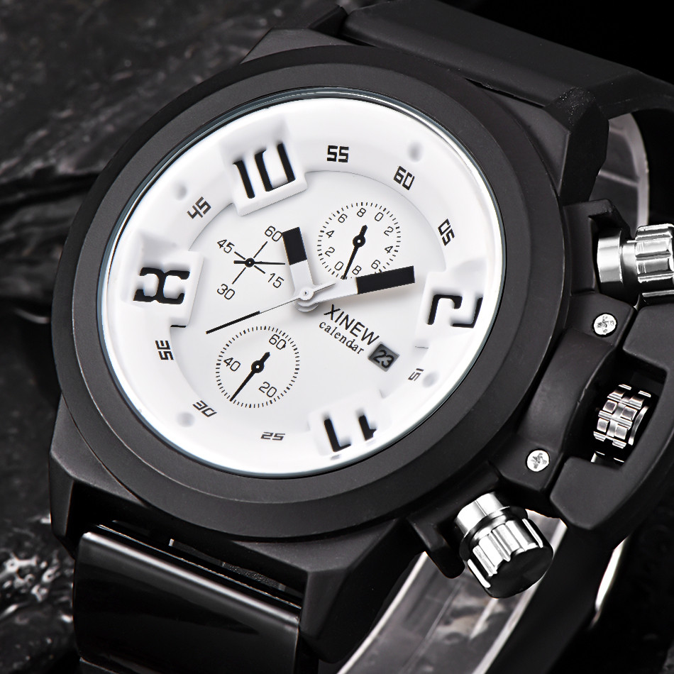 top brands Watch Mens Fashion Silica Sport Date Chronograph Analog Quartz Wrist White Watch Waterproof relogio masculino #1130 superior xinew mens fashion silica sport date calendar chronograph analog quartz wrist watch relogio masculino waterproof sep 14