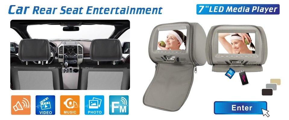 7 дюймов Автомобильный подголовник экран монитор с застежкой-молнией крышка USB и SD Функция чтения