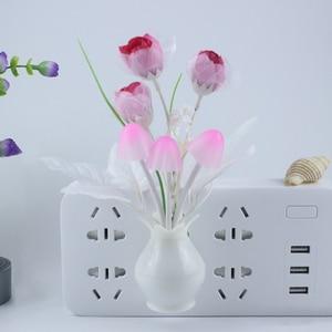 Image 5 - LED kolorowy kwiat lampka nocna czujnik światła lampa ue wtyczka czujnik światła do dekoracji sypialni domu