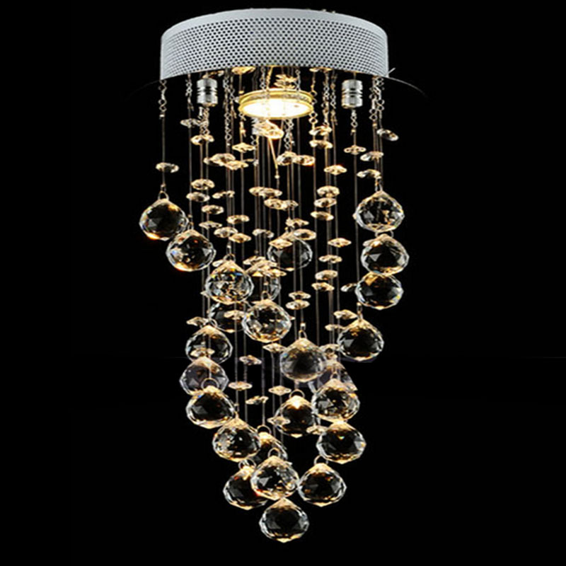 Spiral Crystal Chandelier Light Fixture with GU10 Bulb Flush Mounted Crystal Lustre Stairs Porch Aisle Hallway Light navimc moon and star spiral design crystal chandelier lustre stair light fixture for hotel hallway