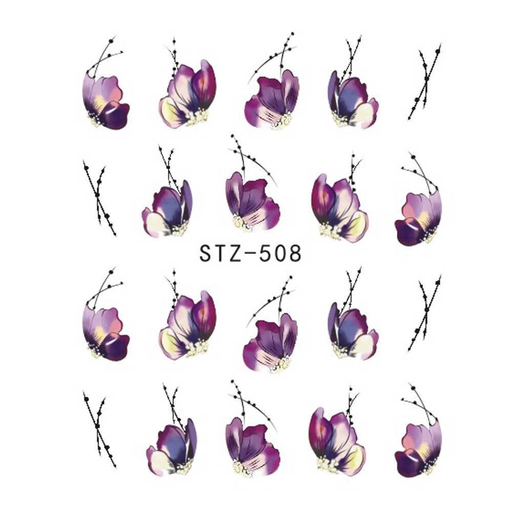 Pleine beauté 1x eau dégradé fleur autocollant pour ongles enveloppes papillon fleur vigne dessins Nail Art décalcomanies CHSTZ508-510