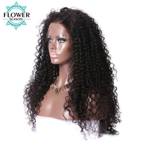 FlowerSeason 5*4.5 Silk Base Malaysian Lace Front Curly Human Hair Wigs With Baby Hair Glueless Remy Hair Pre Plucked Hairline