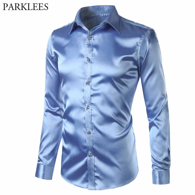 2018 New Silk Satin Shirt Men Business Weedding Club Party Prom Dress Shirts Mens Slim Fit Long Sleeve Tuxedo Shirt Male Camisas
