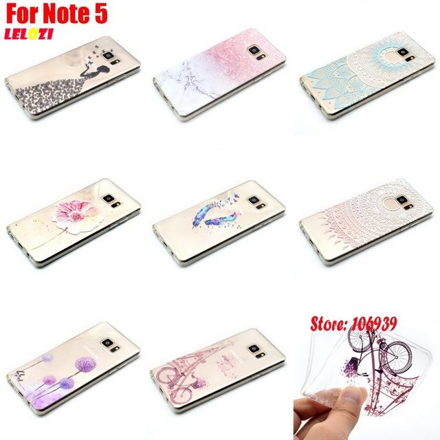 LELOZI Luxury TPU Clear Transparent Soft Silicone Capinha Etui Cover Case For Samsung Galaxy Note 5 N9200 N920c SM-N9200 Bicycle
