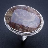 Natural Chrysanthemum Jasper 925 Sterling Silver Ring, US Size 8 Q2796