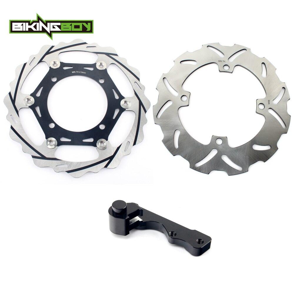 BIKINGBOY 270mm Front Rear Brake Disc Disk Rotors Bracket for Kawasaki KX 125 250 06 07