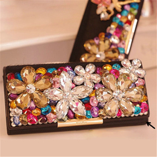 Lüks cüzdan kadın kristal manşonlar çanta çiçek at saç akşam çanta kart tutucu düğün çanta inek deri bayan hediye