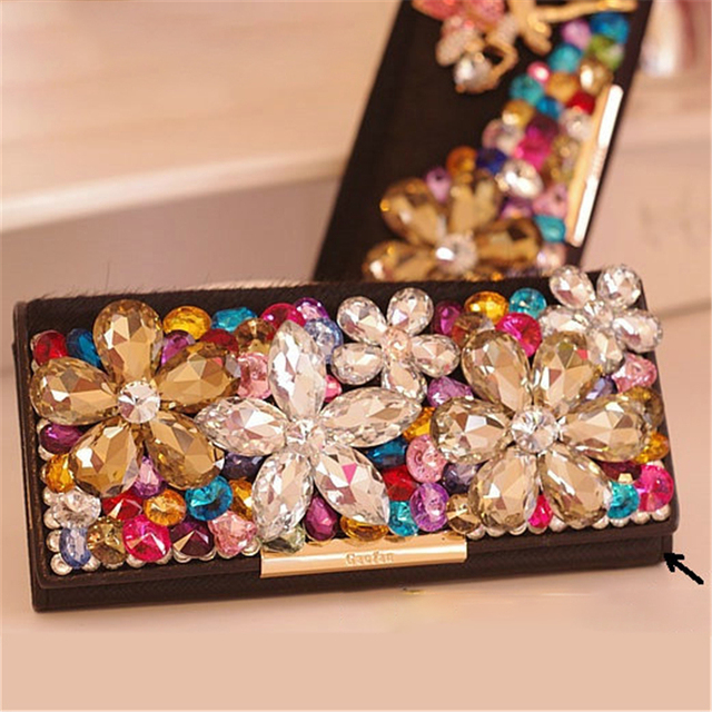 Women Wallets Crystal Clutches Handbags Luxury Floral Horse Hair Evening Bags Card Holder Wedding Purse Cow Leather Ladies Gift