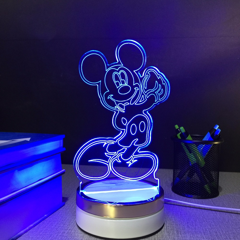 Mickey Mouse USB touch Night Lamp 3d Table Lamps 7 color changing LED Lamp home decor