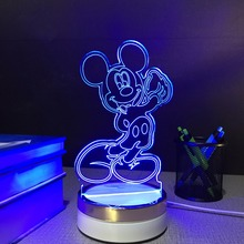 Mickey Mouse USB сенсорный Ночник 3d Настольные Лампы 7 изменение цвета СВЕТОДИОДНЫЕ Лампы home decor индивидуальные Подарок для детей
