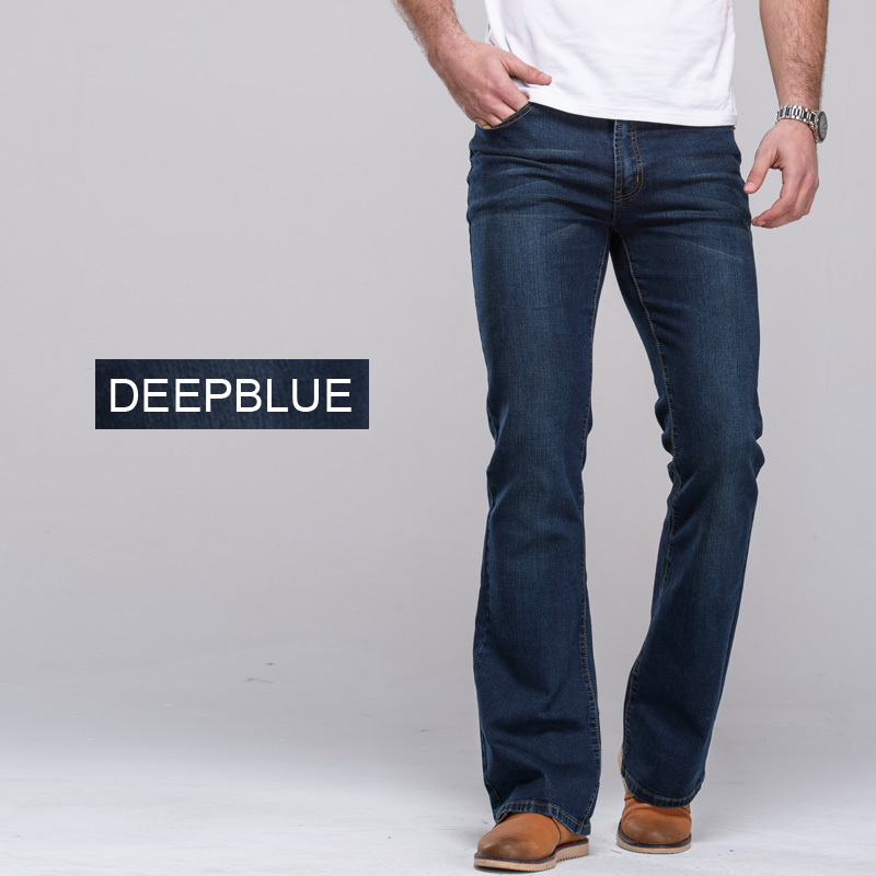 Mens jeans boot cut leg slightly flared slim fit famous brand blue ...