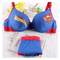 Hot 2017 lingerie panties sets Superman bra with cotton push up bras lovely lady's blue underwear sets for women #9029