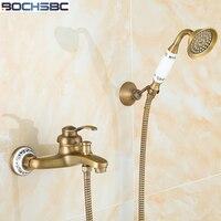 BOCHSBC 골드 황동 샤워 세트 욕실 비 샤워 믹서 욕조 수도꼭지 유럽 스타일의 복고풍 골동품 Tete 드 세정