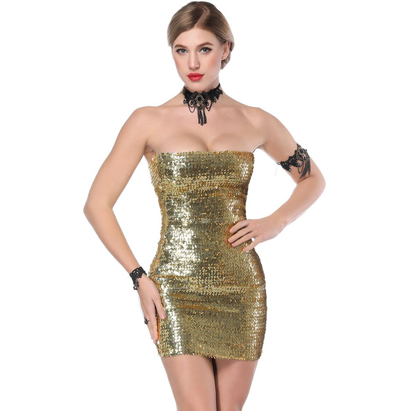 Sexy Off Shoulder Sequins Bandage Dresses 3 Colors Women Strapless Sequines Mini Dress Robe Sexy Club Erotique Fetish Dress