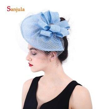 Sombrero de novia azul claro con velo de lino flores con cuentas accesorios para el cabello de boda sombreros formales de mujer para fiesta H75